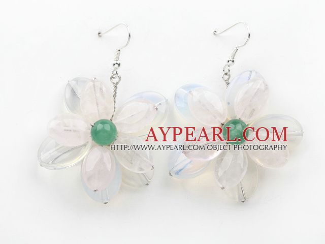 Elegant Style Rose Quartz and Opal and Green Agate Flower Shape Earrings