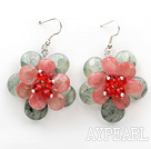 Faceted Prehnit und Cherryq Quartz Blume Ohrringe