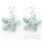 Elegant Style Amazon Stone and Clear Crystal Flower Earrings