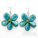 Peacock Green Color Drop Shape Shell Flower Earrings