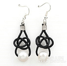 Simple Design Natural White Freshwater Pearl Earrings with Black Leather Cord