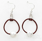 Simple Deisgn Natural White Freshwater Pearl Earrings with Leather Loop Cord
