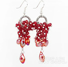 Nouveau Design Dangle Earrings style cristal rouge