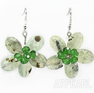 Wholesale Green Series Faceted Green Rutilated Quartz and Green Crystal Flower Earrings