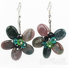 Indian Agate Agate and Crystal Flower Earrings