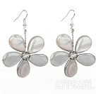 Light Gary Series Gray Shell and Gray Crystal Flower Earrings