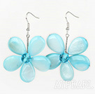 Lyseblå Series Light Blue Shell og Blue Crystal Flower øredobber
