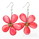 Hot Pink Series Hot Pink Shell and Orange Color Crystal Flower Earrings