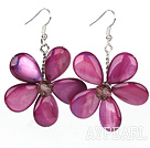 Wholesale Purple Red Series Purple Red Shell and Purple Red Crystal Flower Earrings