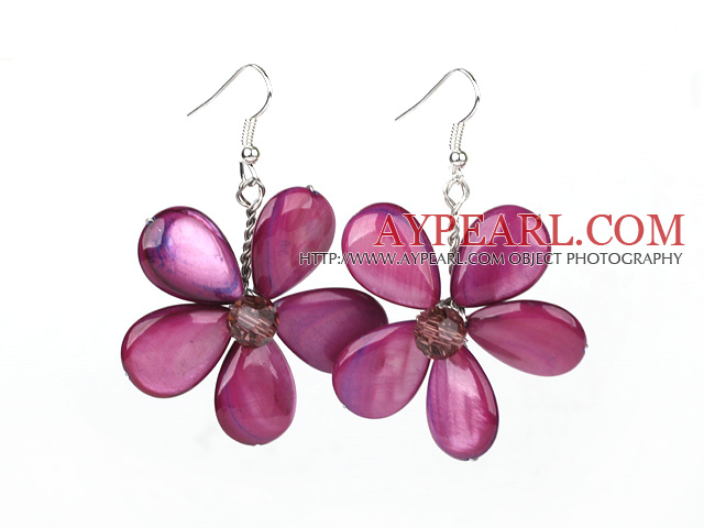 Purple Red Series Purple Red Shell and Purple Red Crystal Flower Earrings