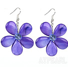 Wholesale Purple Series Purple Shell and Purple Crystal Flower Earrings