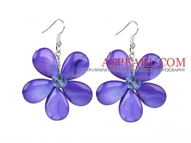 Purple Series Purple Shell and Purple Crystal Flower Earrings