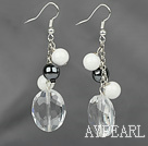 Dangle Style Clear Crystal and Tungsten Steel Stone and White Porcelain Stone Earrings