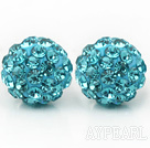 Wholesale Fashion Style Lake Blue Rhinestone Ball Studs Earrings