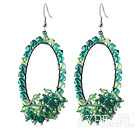 Assortert Fashion Style grønne Series Green og Blue Crystal Hoop øredobber