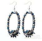 Assorted Black Series Fashion Style Black and Blue Crystal Hoop Earrings