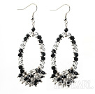 Assorted Fashion Style Black and Clear Crystal Hoop Earrings