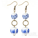Style de Dangle doubles ronds bleu et blanc en porcelaine Perles Boucles d'oreilles