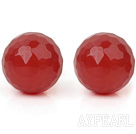 Simple Design 10mm Round Faceted Red Carnelian Studs Earrings