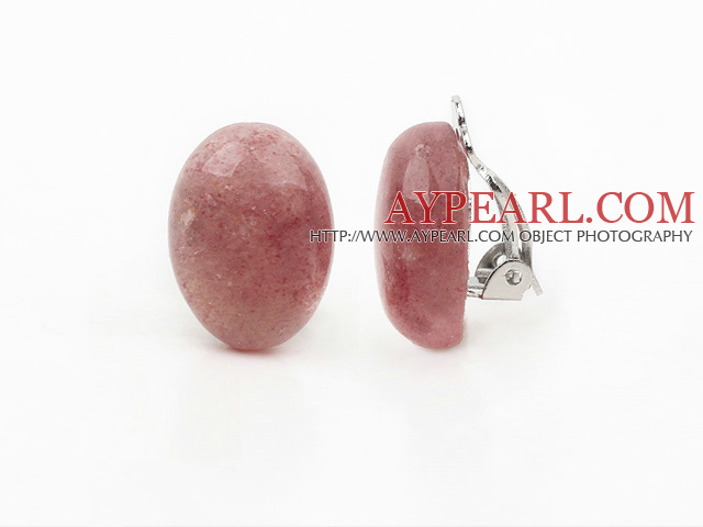 Simple Design Oval Shape Strawberry Crystal Clip Earrings