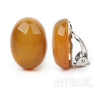 Simple Design Oval Shape Yellow Agate Clip Earrings