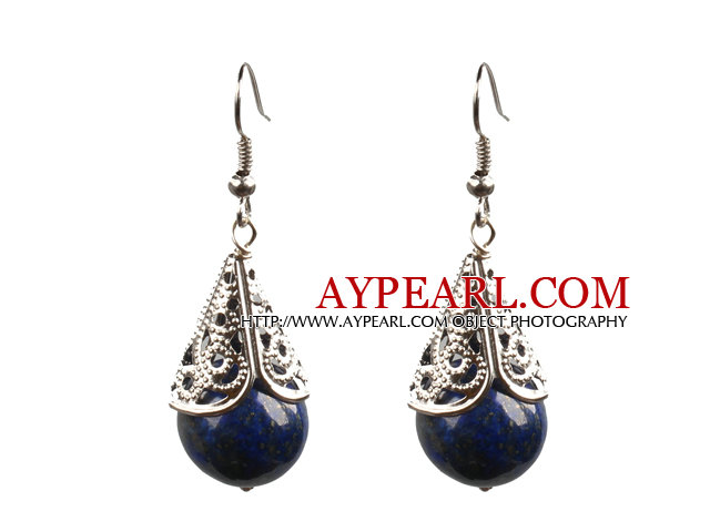 Simple Vintage Style 14Mm Round Lapis Dangle Earrings With Tibet Silve Accessory