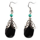 Simple Vintage Style Faceted Black Crystal Dangle Earrings With Tibet Silve Accessory