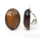 Simple Design Oval Shape Tiger Eye Clip Earrings