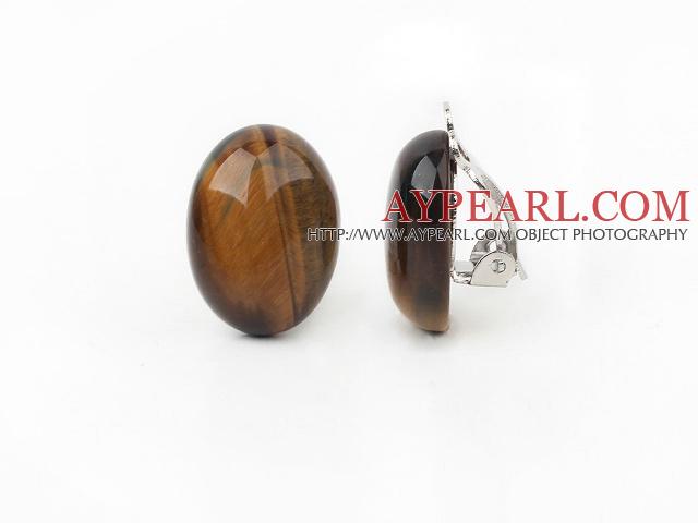 Simple Design Oval Shape Tiger Eye Clip Earrings