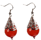 Wholesale Simple Vintage Style Faceted Red Agate Dangle Earrings With Tibet Silve Accessory