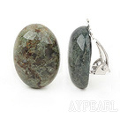 Simple Design Oval Shape Moss Agate Clip Earrings