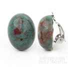 Simple Design Oval Shape Dragon Blood Stone Clip Earrings