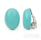 Simple Design Oval Shape Turquoise Clip Earrings