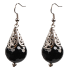 Simple Vintage Style 18Mm Faceted Black Agate Dangle Earrings With Tibet Silve Accessory