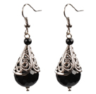 Simple Vintage Style 14Mm Faceted Black Agate Dangle Earrings With Tibet Silve Accessory