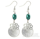 Dangle Style Dark Green Pearl and Immitation Silver Earrings