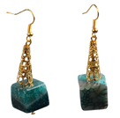 Wholesale Fashion Elegant Design Cube Shape Crystallized Agate Dangle Earrings With Golden Hook