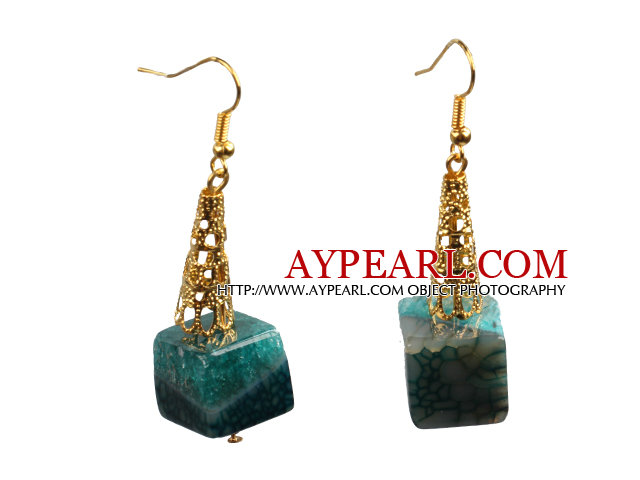 Fashion Elegant Design Cube Shape Crystallized Agate Dangle Earrings With Golden Hook