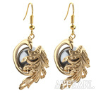 Wholesale Fashion Style Black Seashell Beads and Immitation Gold Earrings