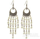 Vintage Style White Seashell Beads Dangle Earrings