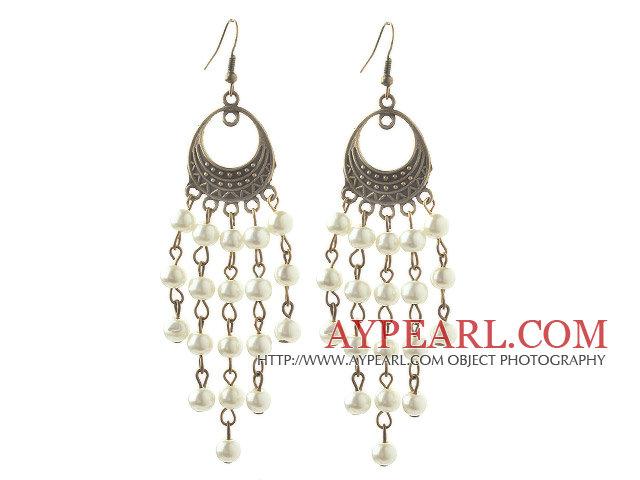 Vintage Style White Seashell Beads Dangle Earrings