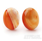 Classic Design Oval Shape Orange Color Agate Clip Earrings