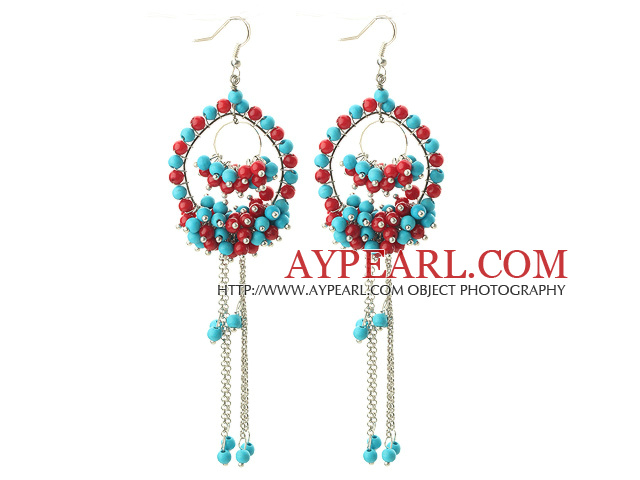 Dangle Style Assorted Red Coral and Turquoise Earrings