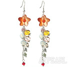 Wholesale Dangle Style Orange Agate Flower and Multi Color Manmade Crystal Long Earrings