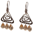 Popular Fashion Natural Champagne Drop Shape Crystal Earrings With Triangular Accessory