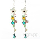 Wholesale Dangle Style Serpentine Jade Flower and Multi Color Manmade Crystal Long Earrings