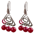Wholesale Popular Fashion Natural Rose Red Agate Earrings With Triangular Accessory