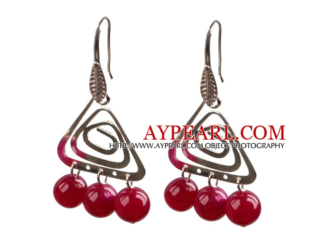 Popular Fashion Natural Rose Red Agate Earrings With Triangular Accessory