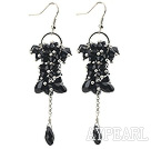 Wholesale Dangle Style Black Series Black Crystal Long Earrings