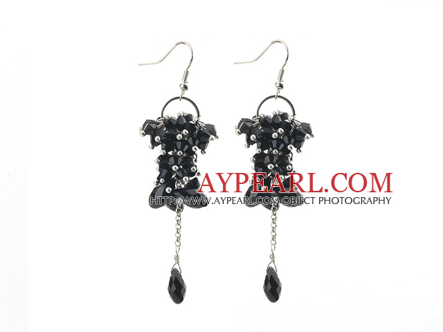 Dangle Style Black Series Black Crystal Long Earrings